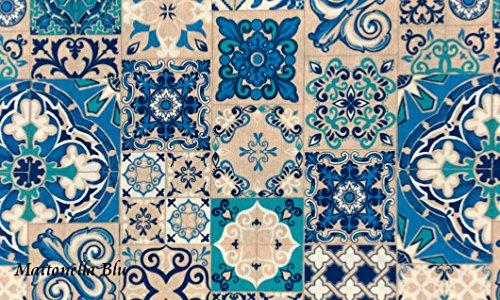 Centesimo Web Shop Tappeto da Cucina GOMMATO in 7 Misure - Multiuso Tappetino Cucina GOMMATO - Fantasia Classica Piastrelle MAIOLICA - 52x290 cm Blu