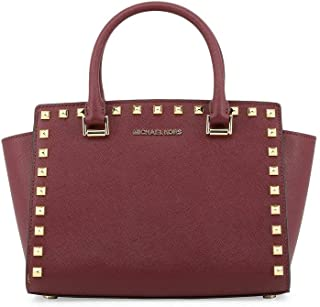 8fa9960bc96584 MICHAEL Michael Kors Selma Stud Leather Satchel Shoulder Bag - Merlot