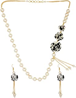 Jewel Pari Black Floral Faux Pearl Beads Strand Necklace Earrings Fashion Costume Jewelry Set for Women Girls