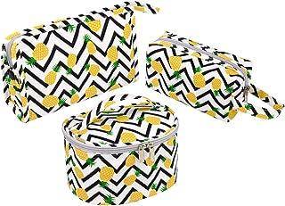 مجموعة حقائب مكياج للنساء، 3 عبوات من حقيبة مستحضرات التجميل الصغيرة للسفر وأدوات العناية الشخصية (الأناناس)