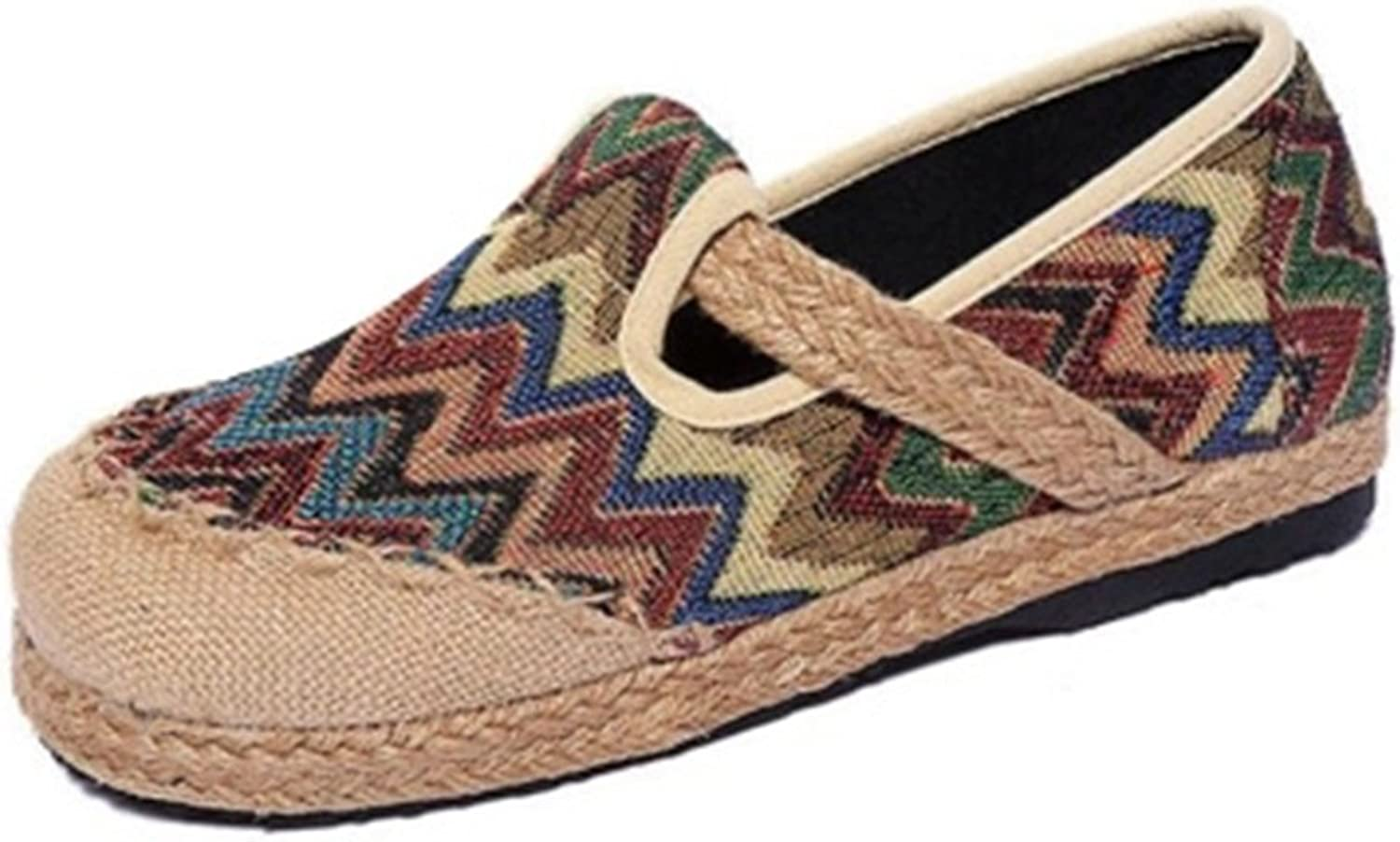 GIY Women's Retro Loafers Flat Moccasin Slip-On Round Toe Linen Strap Casual colorful Dress Sandals shoes