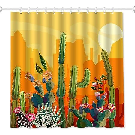 Jawo Saguaro Cactus Bathroom Shower Curtain Sunset In Sonoran Desert Near Phoenix Fabric Bath Curtain Waterproof Bathroom Curtain With 12 Hooks 69x70inches Home Kitchen