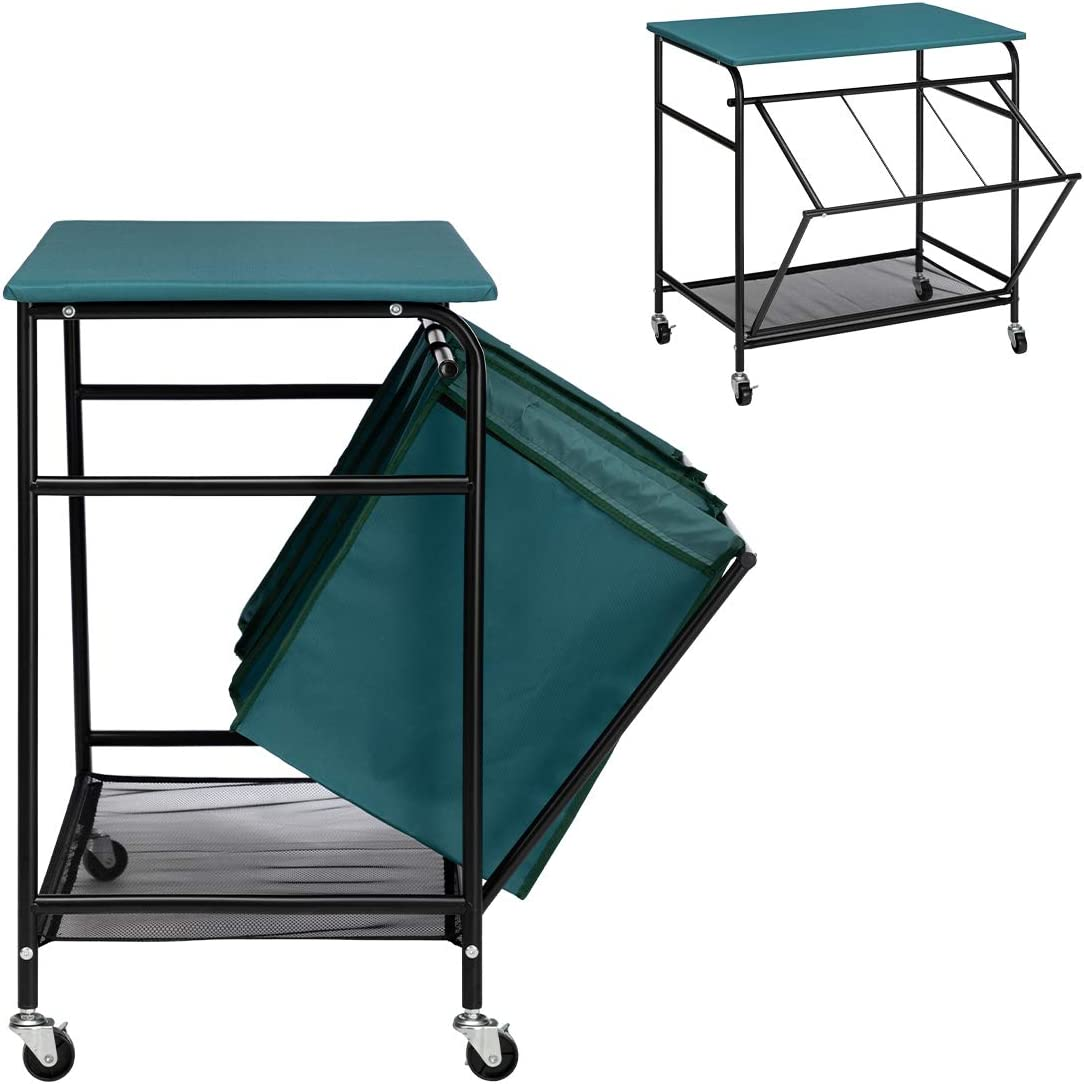 PARANTA Laundry Sorter Cart Heavy Duty 3 Bags Classic Rolling Side Pull Ironing Board Laundry Hamper Sorter with 4 Wheels Blue Gre