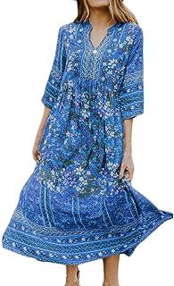 FSSE Womens V Cut Beach Dresses Half Sleeve Boho Print Floral Maxi Dress
