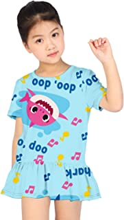 Euiyi Baby Shark Summer Girl 3D Printing Fashion Cute Cartoon Dress, Bubble Skirt, Fishtail Skirt. X-Large R4