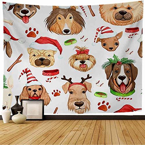 Tapiz de pared Patrón de mascota Año nuevo Perros Diseño de cuenco Sombreros Sin costuras Amigo de animales Saludo navideño Texturas Sombrero Tapiz Tapiz de playa Tapiz de playa para decoración del ho