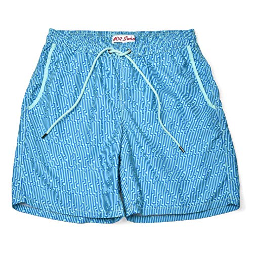 Mr. Swim Men's Swim Trunks with Mesh Lining - Swimsuit & Swimshorts - Quick Dry Swimming Bathing Suit with Pockets - Stairecase Blue and Light Blue, X-Large