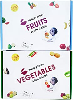 hungry brain Educational Flash Cards | Fruits and Vegetables Combo | Educational Learning Materials | Play Cards Toys | En...