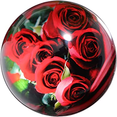 Waltz&F Crystal Red Rose Flower Bouquet Paperweight Galss Globe Hemisphere Home Office Table Decoration 3.1''