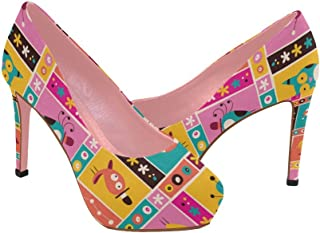 Zenzzle Womens high Heel Wedge Pumps Shoes Ethnic Colorful Graffiti Geometry Pattern prin on Size 5-11