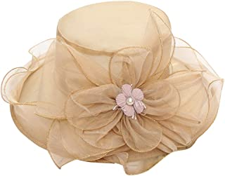 Hat,Snowlily Women's Organza Church Kentucky Derby Hat Feather Veil Bridal Tea Party Wedding Hat(Featured)