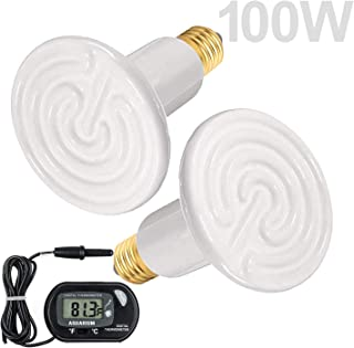 Wuhostam 2 Pack 100W White Ceramic Heat Lamp with 1-pcs Digital-Thermometer,Infrared Bulb Emitter Lamp Infrared Ceramic Heat Lamp Bulb for Pet Brooder Coop Chicken Lizard Turtle Snake Aquarium