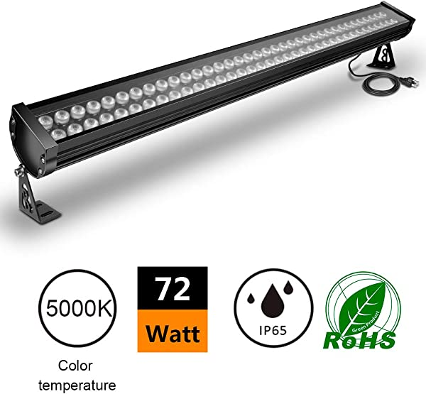 ATCD 72W LED Wall Washer Linear Light Bar 200W HPS HID Equivalent 120V IP65 Waterproof 3 2ft 40 Inches Churches Hotels Resort Advertisement Billboard Lighting 5000k Cold White