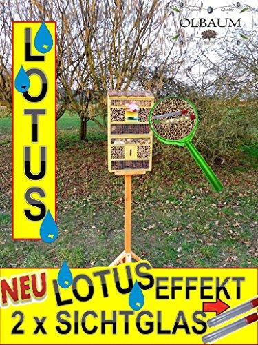 Kleine Insektenhotel mit Ständer Einbeinständer + Lotus + 2 x Beobachtung, Insektenhaus als funktionale Gartendekos mit Futterstation und Holzständer + Holzrinde-Naturdach
