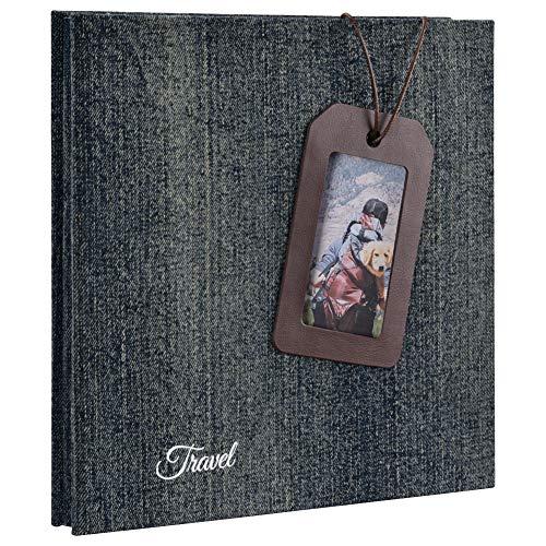 Cizen Álbum de Fotos Scrapbook - Albums para Fotos con Portada de Mezclilla, 28 x 27 cm, 20 Hojas Negro Scrapbook Paginas
