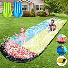 Slip and Slide for Kids Water Slide - 15.75ft Lawn Water Slides for Kids Backyard with 2 Crash Pad and Kids Sprinkler for Kids Outdoor Play, Outdoor Water Toys for Kids Waterslide, Slip and Slide