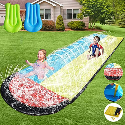 Slip and Slide for Kids Water Slide - 16ft Lawn Water Slides for Kids Backyard with 2 Crash Pad and Kids Sprinkler for Kids Outdoor Play, Outdoor Water Toys for Kids Waterslide,Slip n Slide