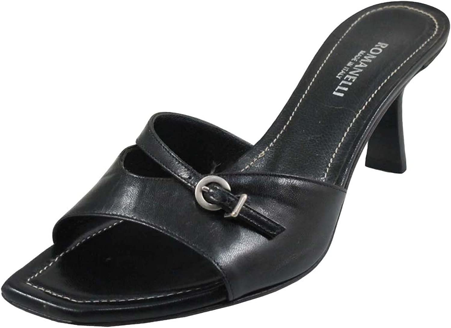 Romanelli 9409 Women's Italian Slide mid Heel Open Toe Sandals