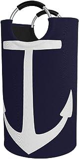 N\A Grand Panier à Linge 82l, Ancre Bleu Marine Nautique de Panier à Linge Pliable en Tissu Marin, Sac à vêtements Pliable...