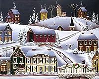 WJYMJJ DIYペイント番号キット 雪の中の小屋 キャンバスペインティング による絵画 塗り絵 大人 手塗り デジタル油絵 40x50 センチ (フレームレス)