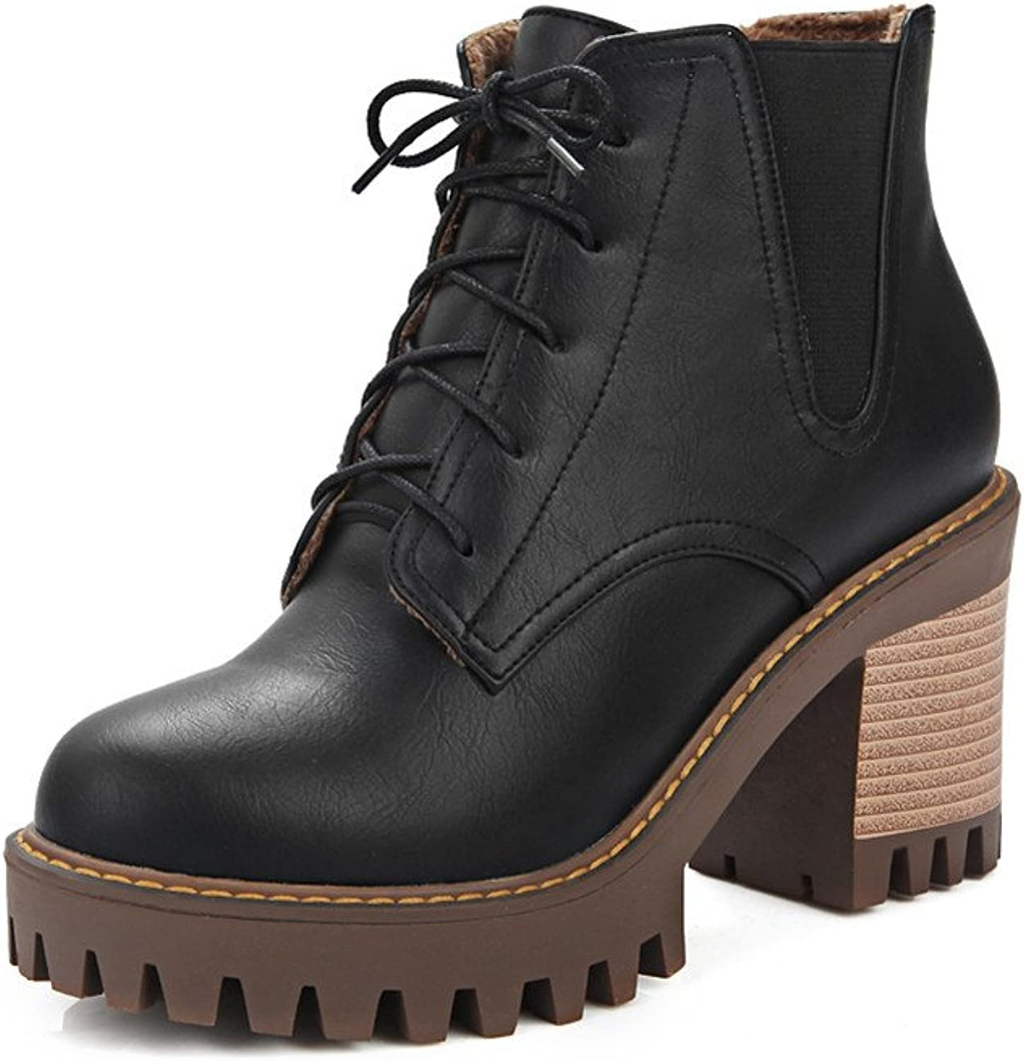 Lucksender Womens Round Toe Lace Up Platform Chunky High Heel Short Boots