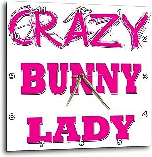 3dRose Crazy Bunny Lady - Wall Clock, 10 by 10-Inch (DPP_174959_1)