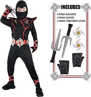 FUNNISM Ninja Deluxe Costumes for Kids, Halloween Ninja Costumes for Boys Girls