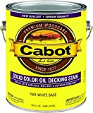 Cabot Stains 1601 Oil Decking Stain Alkyd Base Solid with Low VOC, 1 Gallon, Satin White