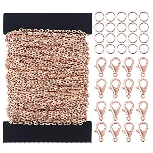 TsunNee - Catena per gioielli fai da te, 12 m, kit per creazione di gioielli, con 30 chiusure a moschettone, 100 anelli per ornamenti, catenine per maglioni, accessori fai da te, colore: oro rosa