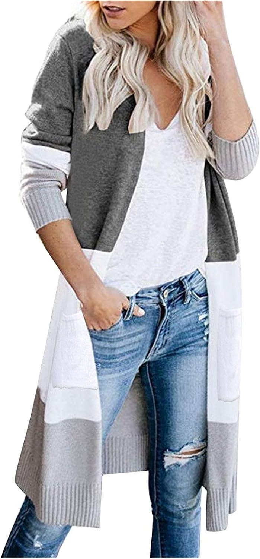 Women's Open Front Long Cardigan Stripe Color Block Long Sleeves Lightweight Knit Fall Winter Outwear Sweater Coats