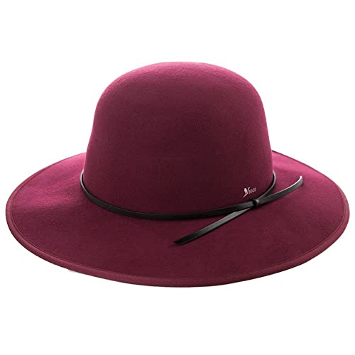 1748490df40 Siggi Ladies 100% Wool Felt Fedora Hat Wide Brim Derby Church Party Winter  Hats for