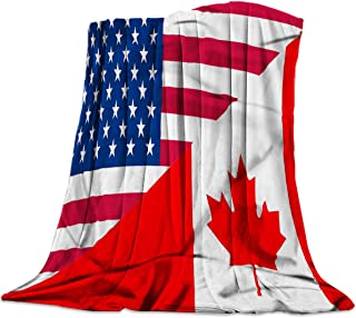 Throw Blankets Canada USA Flag Fuzzy Soft Bed Cover Bedspread Microfiber Luxury Blanket for Travel Stadium Camping Couch Sofa Chair Stars Maple Leaf 60x80inch