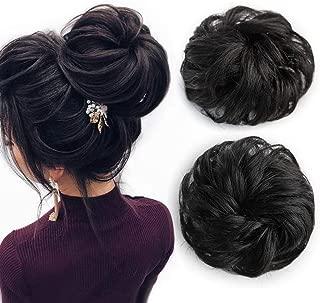K&G HAIR 100% Human Hair Scrunchies Curly Messy Hair Bun Extensions Updo Hair Bun Wedding Hair Pieces for Women Girl Hair Ponytail(Natural Black)