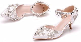 Women's Bridal Shoes, 5CM Elegant Rhinestone Stiletto Princess Sandals, Pointed Tassel Mary Jane Court Shoes, Bridesmaid S...