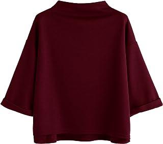 SweatyRocks Women's 3/4 Sleeve Cowl Neck Basic Loose T-Shirt Elegant Blouse Tops