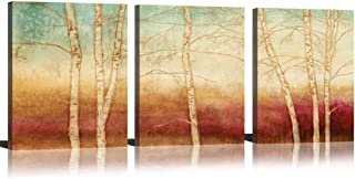 Birch Canvas Wall Art Tree Wall Decor Paintings On Canvas Prints Yellow Season Landscape Painting Abstract Art Wall Scenery Picture Framed For Home Decor Ready To Hang 3 Piece (12