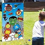 LATERN Juego De Lanzamiento De Superhéroes Con 4 Bolsas De Frijoles, Banner De Juego De Lanzamiento De Carnaval Juego De Lanzamiento De Superhéroes Suministros De Fiesta Para Niños