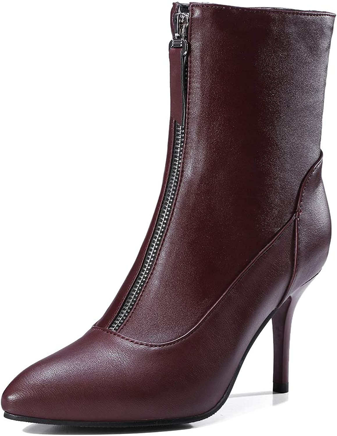 Women's Booties, New Black Stiletto Heel Ankle Boots Ladies Mid Heel High Heel Fashion Boots (color   B, Size   37)