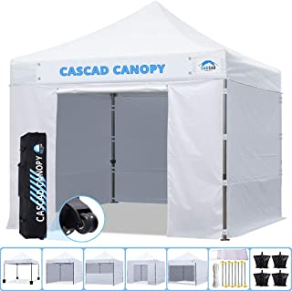 CASCAD CANOPY 10' x10' Ez Pop-Up Canopy Commercial Instant Tent Shelter with DIY Banner, Heavy Duty Roller Bag, 4 Removable Sidewalls, 10ft Screen Netting and Half Wall, 4 Weight Bags, White