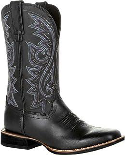 OROSUA Hommes Cowboy Bottes Vintage sans Lacets Bottes mi-Mollet Broderie Motif Fendu Bout Pointu Bloc Talon Anti-dérapant...