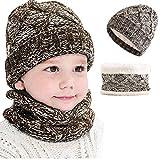 CheChury Set de Bufanda y Gorro Niños Niñas Unisex Conjuntos Beanie Sombrero de Punto Cuello Bufanda de Punto Cálido de 2 Piezas Tejida Beanie 3-10 años