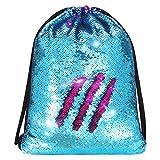 Alritz Mermaid Sequin Drawstring Bags Reversible Sequin Dance Bags Gym Backpacks for Girls