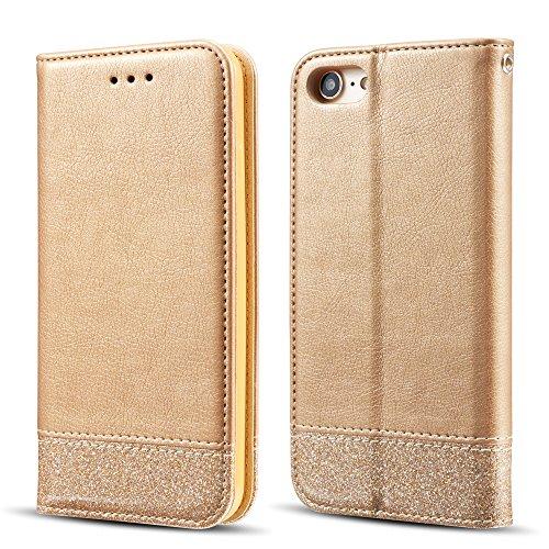 UEEBAI Funda para iPhone 7 iPhone 8,Caso Bling Glitter con [Cierre magnético] [Ranuras para Tarjetas] [Soporte] PU Cuero Cartera Cubierta Caja de Tapa para iPhone 7/iPhone 8 - Gold