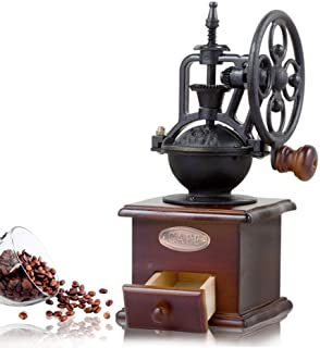 Manual Coffee Grinder Antique Cast Iron Hand Crank Coffee Mill With Grind Settings & Catch Drawer 120 x 120 x 260mm