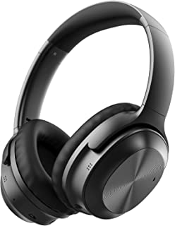 Active Noise Cancelling Headphones, LETSCOM Bluetooth Headphones Over Ear with CVC 6.0 Microphones, Hi-Fi Sound and 25hrs Playtime Wired/Wireless Headset for Home Office Travel PC Cellphone-Black
