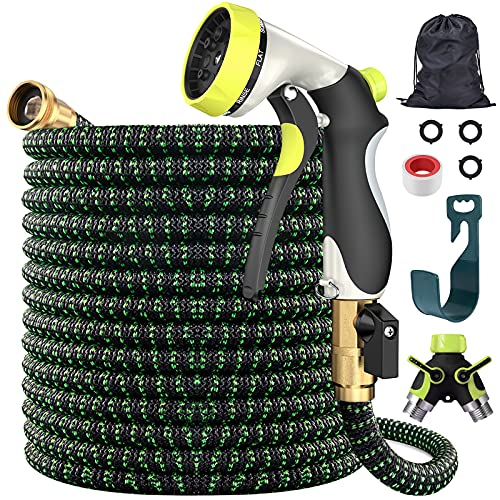 """Tikola 100ft Expandable Garden Hose with 8 Function Nozzle/3/4""""Solid Brass Connectors/Alloy Splitter/3 layers latex/Durable 3750D, No-Kink Water Hose"""