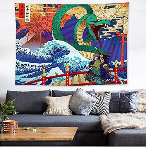 N / A Japan Waves Printed Hanging Tapestry Whale Arowana Wal