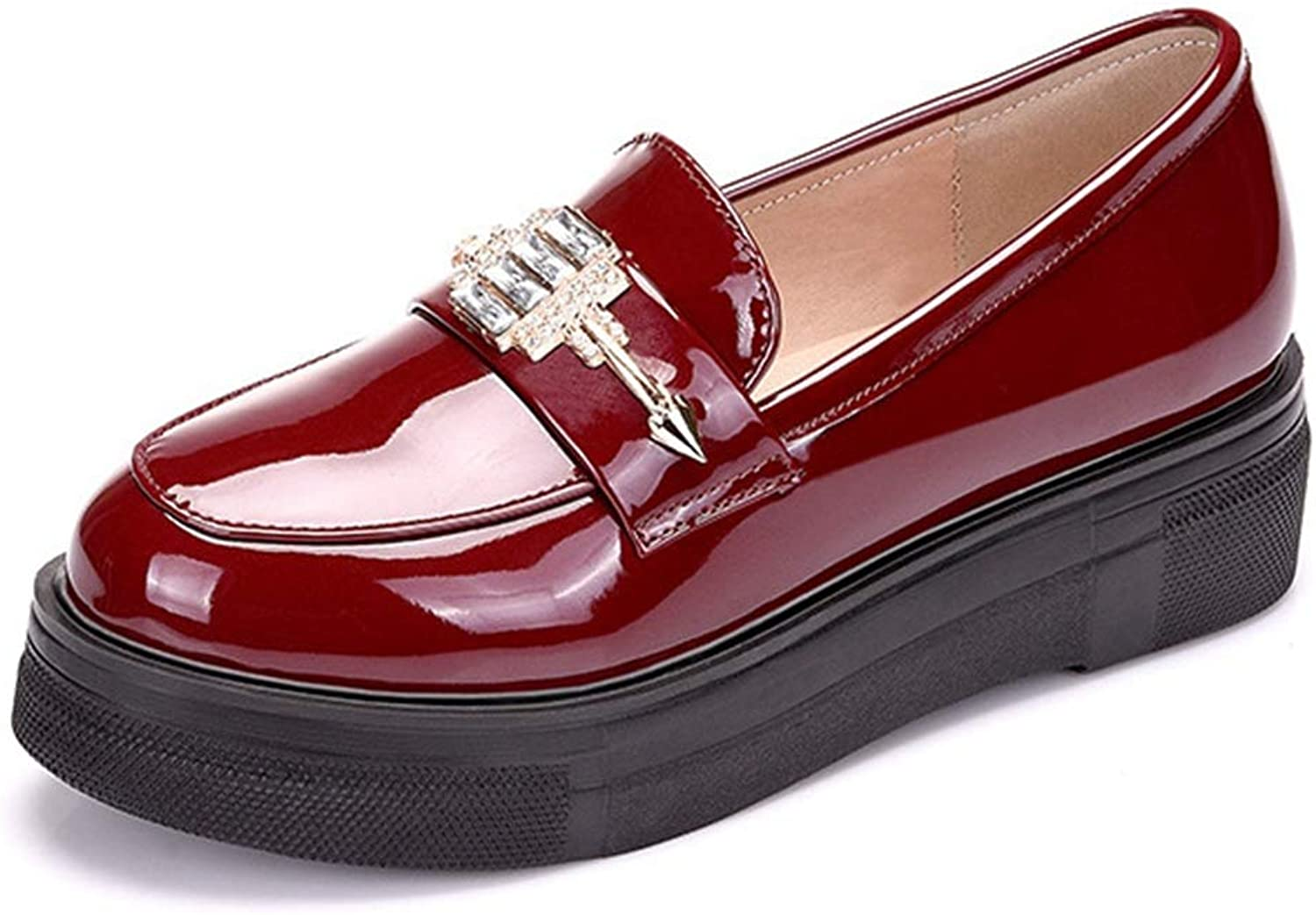 CYBLING Women's Classic Penny Loafer Leather Comfort Slip On Oxfords Low Heel Flat shoes