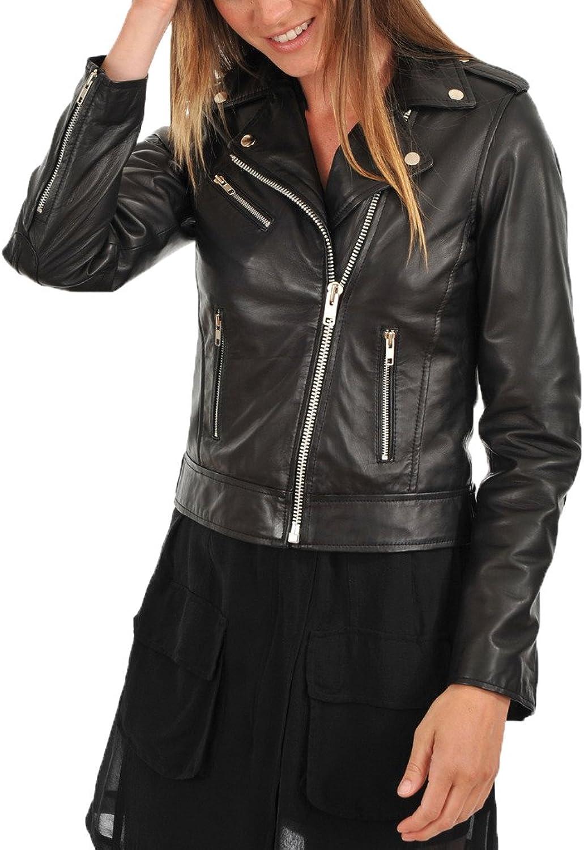 Captain Cory Womens Delighted Black Lambskin Genuine Leather Jacket, Biker Jacket
