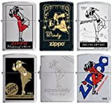 Set of 6 Windy Girl Zippo Lighters Windproof New in Original Packaging Zippo Lifetime Guarantee Made in USA